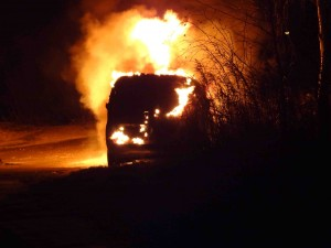 Pożar samochodu w Borkowie - fot. MC