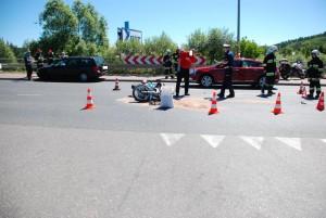 zderzenie VW z motocyklem