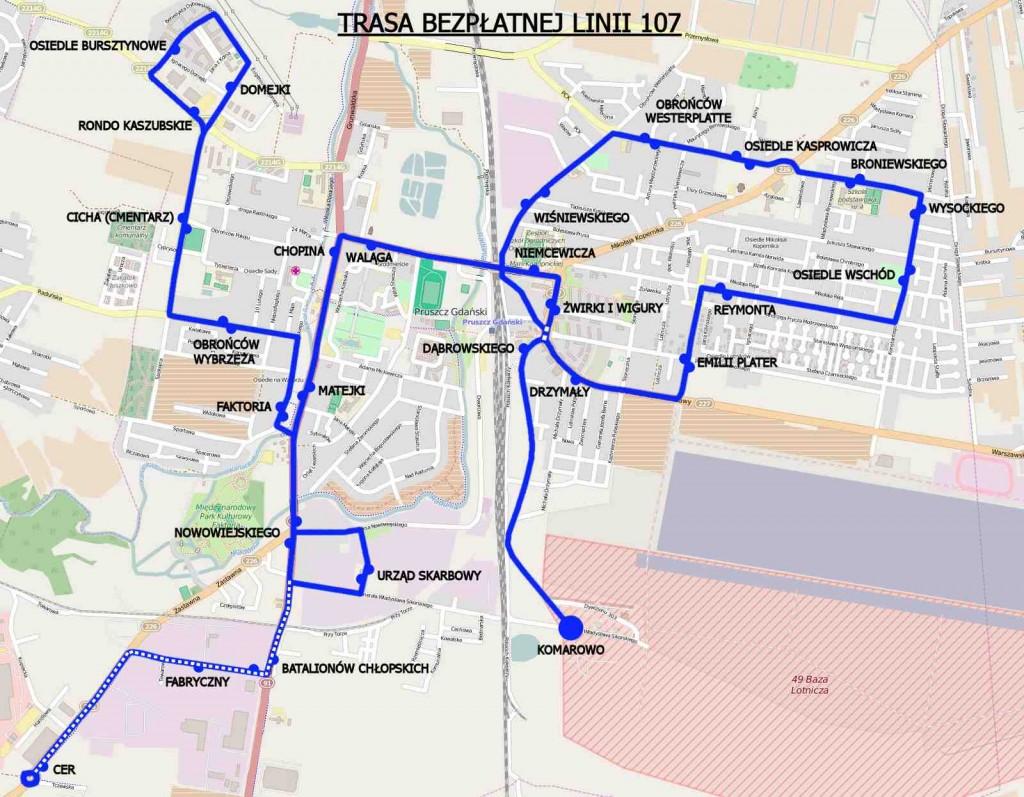 Bezpłatna linia 107 w Pruszczu Gdańskim